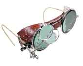 Steampunk Goggles Antique WILLSON Steam Punk Glasses GREEN TINT Lenses Brown Leather Side Shields Loupes Burning Man - Goggles by edmdesigns
