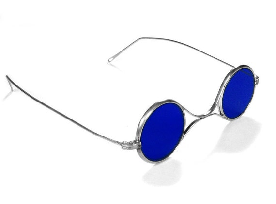 Steampunk Goggles Vintage American Optical Steampunk Glasses, Aviator COBALT BLUE Tinted Glass, Steam Punk Goggles EXQUISITE by edmdesigns