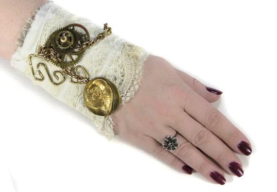 Steampunk BRIDAL Wrist Cuff Vintage Ivory Lace Brass Leaf LOCKET Coils Chain Steam Punk Bridal Wedding Cuff - Steampunk Cuffs by edmdesigns