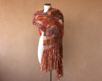 Casual Shawl, Informal Shawl, Everyday Shawl, Every Day Shawl. Fall Shoulder Wrap in Peach, Terra Cotta, Brown, Burnt Orange, Copper Shawl