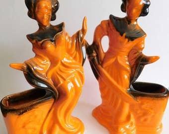 VINTAGE Asian Figurines PLANTERS Mid-Century Japanese California Pottery
