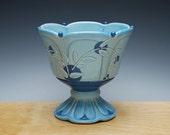 Aqua Pedestal bowl / Compote w. Navy polka dots & detail, Victorian modern