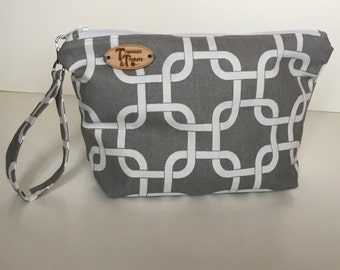 Graphic Gray, White and Yellow Knitting Project Bag