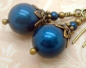 Victorian Dangle Earrings in Petrol Blue Swarovski Pearl
