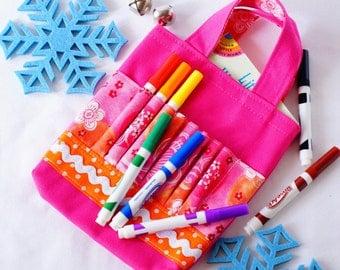 Crayon Tote • Crayon Bag • Coloring Bag • Art Tote • Crayon Holder • Crayon Roll • Flower Girl • Busy Bag • ARTOTE MINI • Poppy Talk Pink