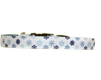 5/8 or 3/4 Inch Wide Dog Collar with Adjustable Buckle or Martingale in Winter Snowflaikes