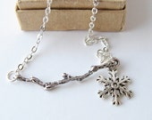 Winter branch necklace, snowflake necklace, holiday jewelry,