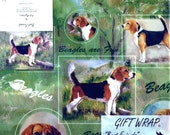 Beagles Wrapping Paper Vintage Gift wrap Best Friends by Ruth Maystead 90s scrapbooking altered art Collage supply Unopened Green Dog lover