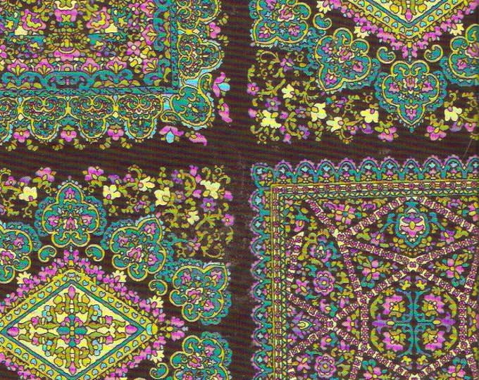 Michael Miller Marrakesh Designer Fabric Exotic Green Black Pink  Quilting Cotton Fabric Yardage Sewing Supplies 44 X 80 inches long