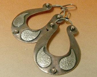 Mixed Metal Earrings, Two Tone Earrings, Copper Earrings, Copper And Sterling Silver Earrings, Exotic Earrings, Boho Artisan Earrings