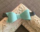 Mint Bow // Felt // Gray Polka Dot Elastic // Mint and Gray // Large Bow // Photo Prop // Baby Headband // Wool Felt // Mint Bow Headband