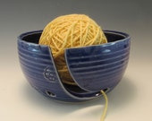 Handmade Pottery Yarn Bowl in Royal Blue