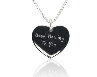 Laurie Sarah Solid Gold Heart Pendant - What can we engrave on it for you? - Gold Heart Necklace - LS2698