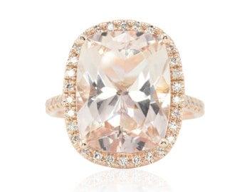 Halo Engagement Ring - 8 Carat Rectangular Cushion cut Morganite and Diamond Halo Statement Ring in 14k Rose Gold - LS4667