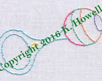 Baby Rattle Hand Embroidery Pattern