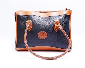 Vintage  Dooney and Bourke Handbag //  Navy Blue with Brown Leather // Medium Bag