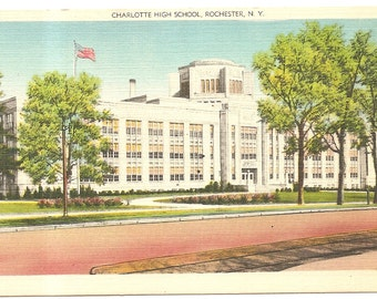 Charoltte High School,  Rochester, NY  Vintage 20's -40's Linen Postcard