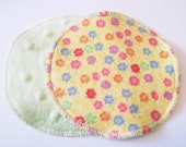 Postpartum Nursing Pads .. Yellow with Flowers Flannel and Green Minky Dot FREE Shipping