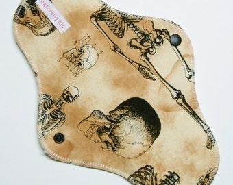 "10.5"" Organic Hemp Fleece Heavy Cloth Menstrual Pad - Skeleton Anatomy Bones - Natural Ivory Unbleached - Washable Reusable Cloth Sanpro"