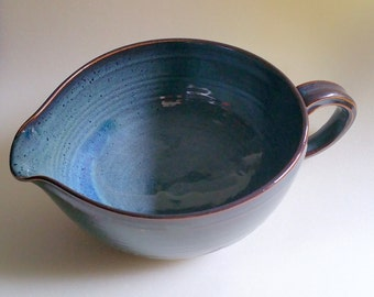 Blue Pottery Batter Bowl with Pour Spout with Chattered Texture