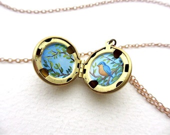 Miniature Spring Bird Oil Painting Hidden in Ball Locket, Spring Branches and Leaves