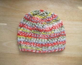 Handknit Beanie Swirl Hat Tangelo Stripe