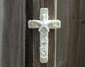 Shell Cross Aqua Abalone, Seashell Crucifix, Cross with Shells,Coastal Cross Wall Hanging, Religious Christian Gift, Baptism Communion Gift