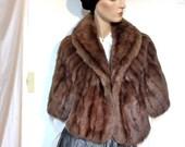 Sable Coat Cape Vintage 60s Size 10 to 12