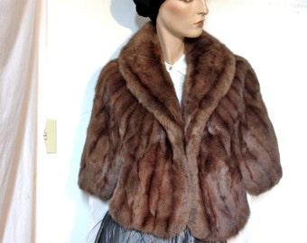 SALE Sable Coat Cape Vintage 60s Size 10 12 to 14 *