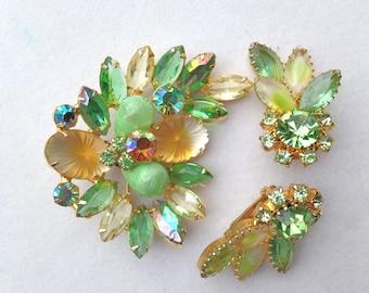 Julianna Style Brooch Earrings Demi Parure Green Amber Satin & Bi Colored Rhinestones VIntage