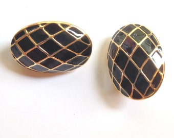Gold Earrings Black and Gold 80s Earrings Clip on Earrings Vintage