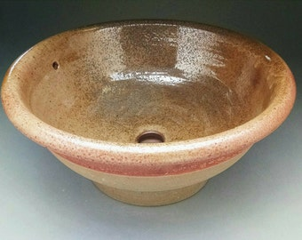 """Handmade Earthtone Pottery Sink For Your Bathroom Remodeling Project - """"Drop-in"""" Bathroom Sink Design """"With Overflow"""" ready to ship."""