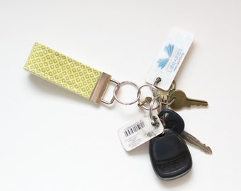 Fabric Key Chain Fob Dots N Squares Green