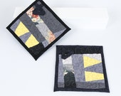 Modern Quilted Kitchen Pot Holders Patchwork Quilt Trivets Modern Kitchen Decor Light Gray Yellow Black Hot Pads One Of A Kind Potholder Set