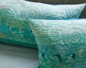Quilted Pillow Shams King Size Pillow Shams Turquoise Pillows Ocean Pillow Shams Modern Pillow shams Quilted Bed Pillows Aqua Pillow Covers