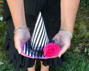 Mini Witch Hat Fascinator Dark Circus Pierrot Stripes