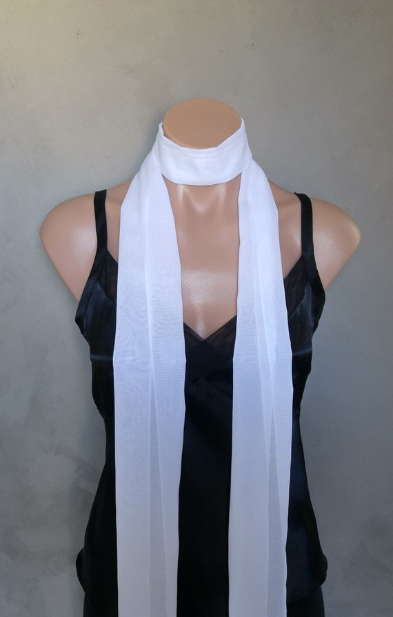 Extra Long White Slim Skinny Scarf (71 inches long / 6 inches wide)