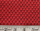 Fish Net Black on Red FABRIC Kristen Berger Fishline Fabric for Maywood Studio MAS8858-R