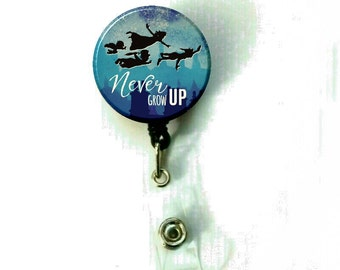 Peter Pan NEver Grow Up Retractable ID Name Holder Badge Reel Clip On Nurse - D