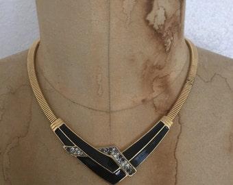 vintage GATSBY choker / 1970s ARTDECO necklace / gold SNAKE chain.