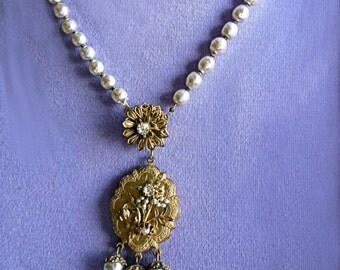 Miriam Haskell Baroque Pearl and Gold Necklace