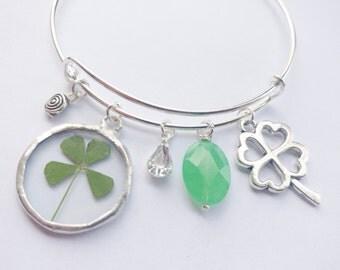 real four leaf clover bracelet - charm bracelet - four leaf clover jewelry - 4 leaf clover bracelet - st patricks day - silver bracelet