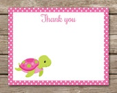 Sea Turtle Thank You Cards - Note Cards - Notecards - Girl - Under The Sea - Ocean - Beach - Tropical - Pink - INSTANT DOWNLOAD
