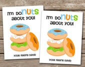 PRINTABLE - Kids Valentine Day Cards - Donuts - Im Donuts About You - 3.5 x 4.5 - Personalized