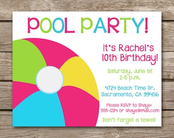 PRINTABLE - Swim Party Invitation - Pool Party - Birthday - Summer - Backyard - Girl