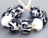 Borosilicate Glass Beads - Boro Beads - Black and White