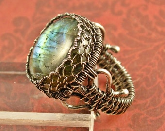 SALE - Labradorite Ring Sterling Silver Ring Spectrolite Ring Wire Woven Ring Size 7 Ring Gemstone Ring Blue Green Gold flash SilverTrove