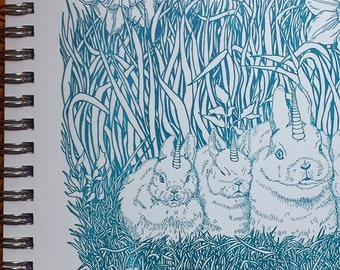 Unihorn Bunnylopes Notebook Letterpress Printed Cover Original Illustration