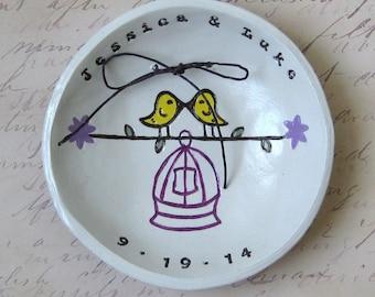 Personalized Wedding Gift: Love Birds Ring Bowl, Bird Cage, Bridal Shower Gift, Wedding Ceremony Decor, Keepsake