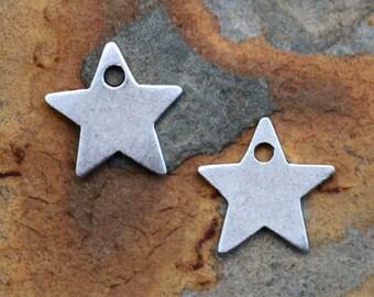1 Antique Silver Star Charm, Nunn Design 13x13mm